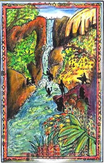 Illus by Antares (after Women with Waterfall by Jane Evershed)